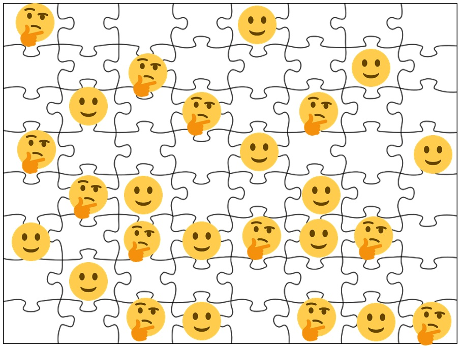 "This work, ""Emoji Puzzle,"" is a derivative of "" Jigsaw Puzzle "" by Pyson and "" Twemoji2 1f642 "" and "" Twemoji2 1f914 "" By Twitter, used under  CC BY . ""Emoji Puzzle"" is licensed under  CC BY  by Jason Hoppe."