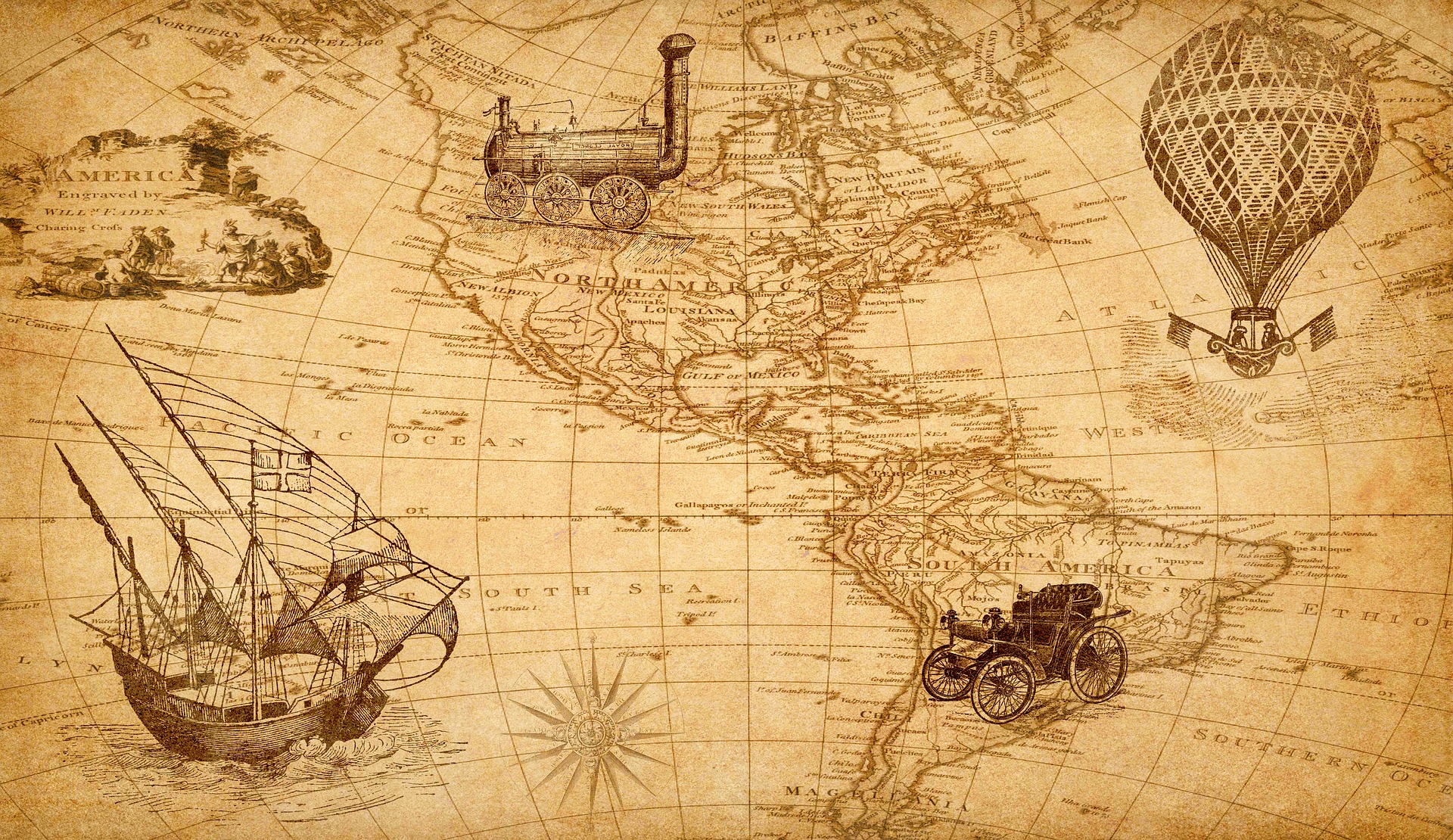 a world map, only showing the America's, with drawings of a boat, hot air ballon, train and car.