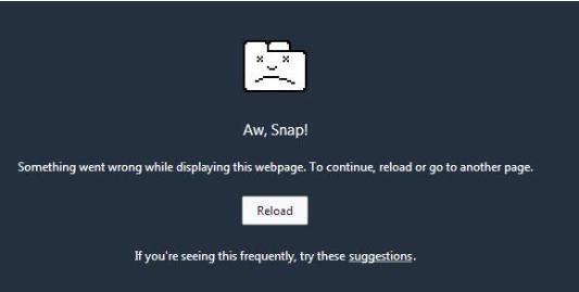 "Fig. 1.  Google Chrome's ""Aw Snap"" image (Brinkmann)."