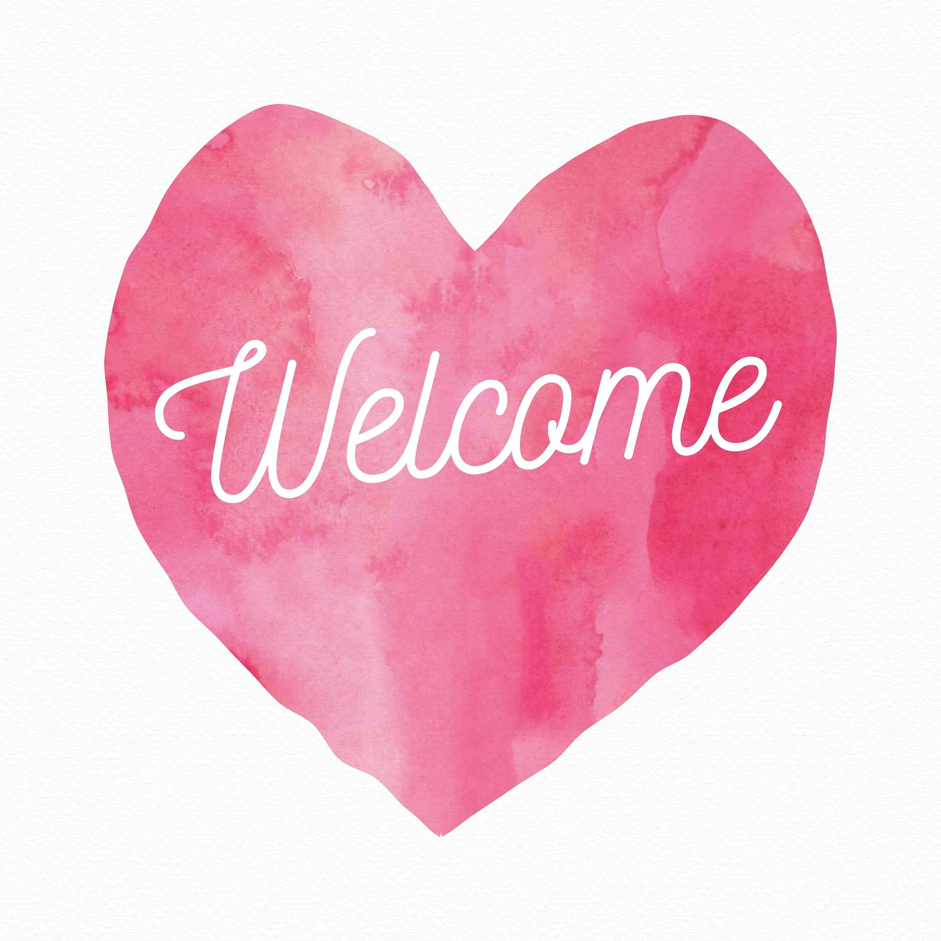 a pink heart and the word 'welcome' on top