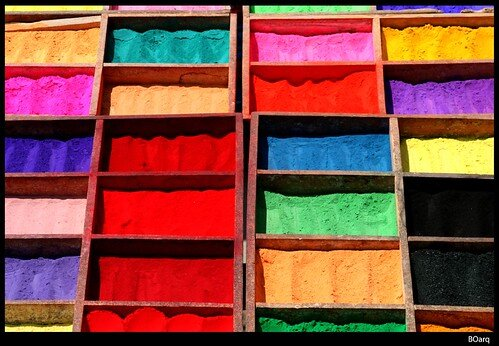 Colorful sand in boxes