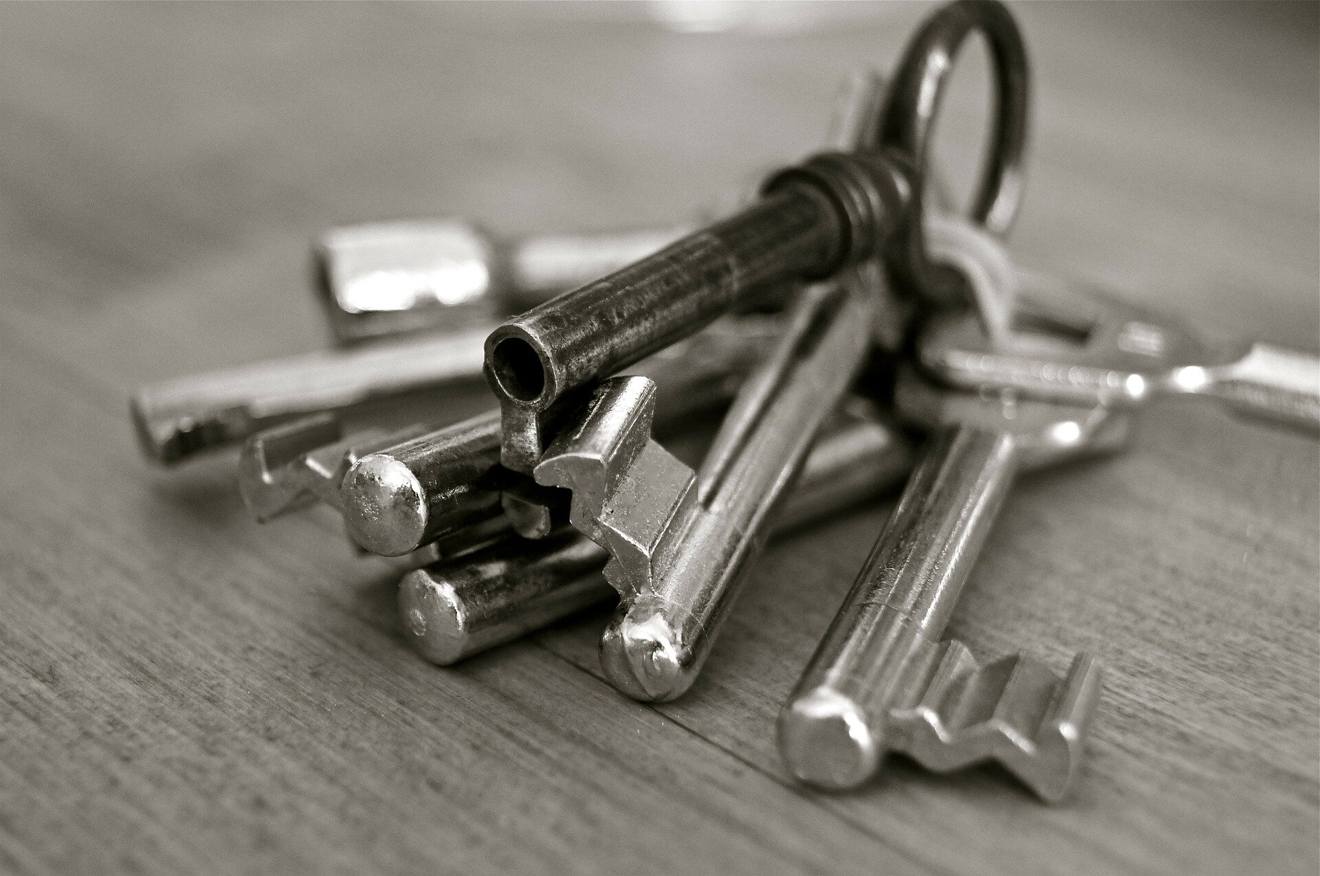 a bunch of keys on a keychain.