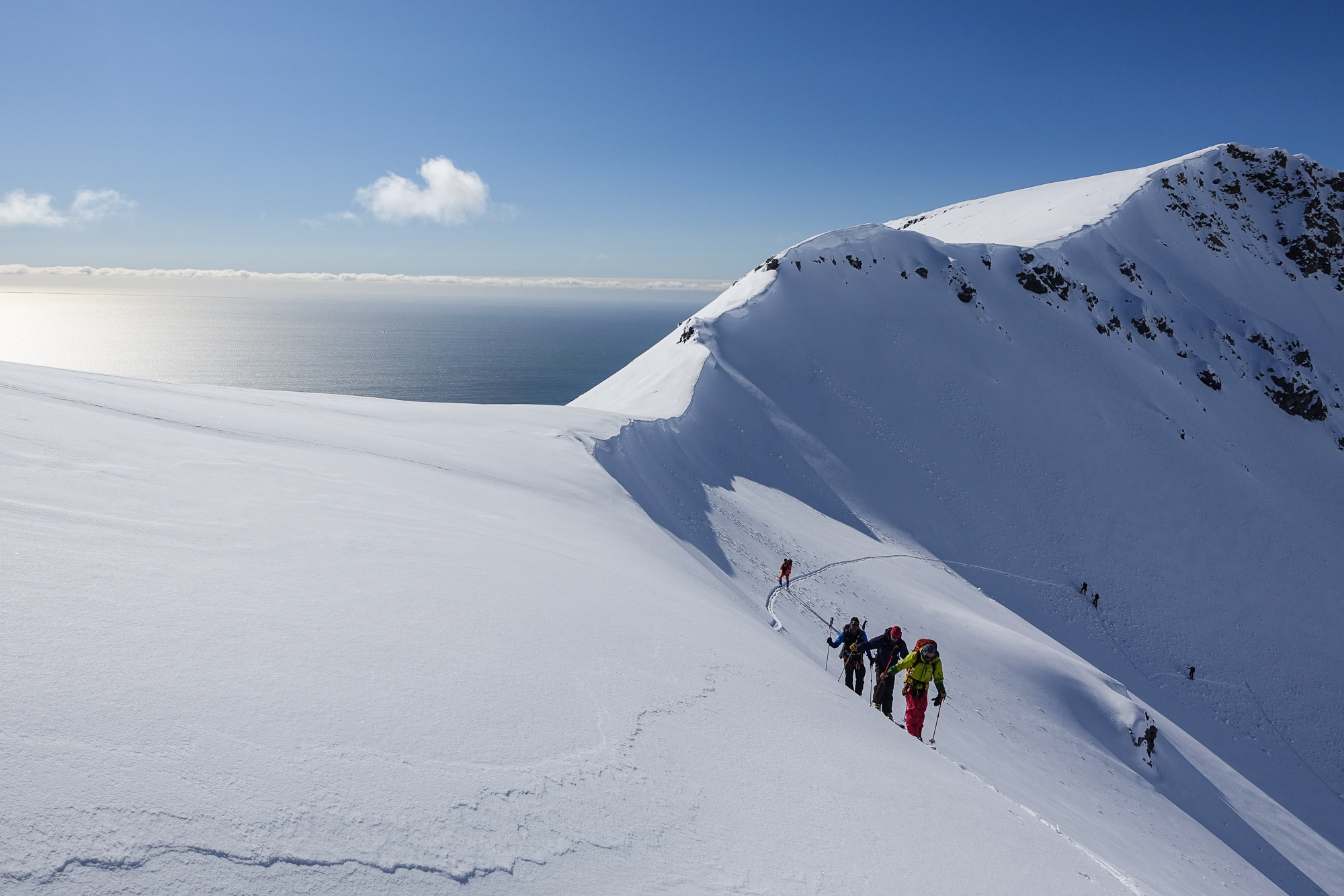 Touring above the Arctic Ocean and endless blue sky