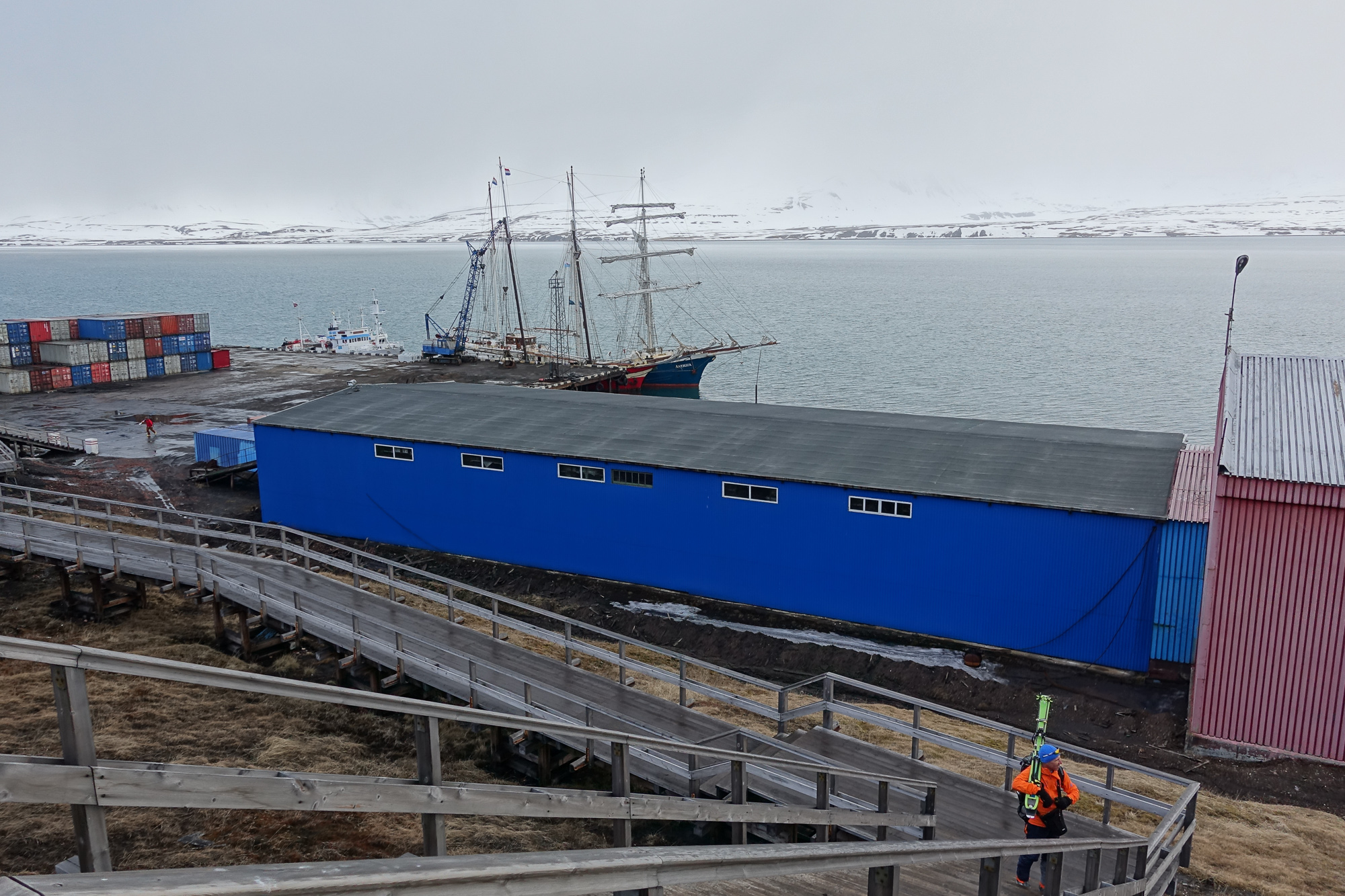 The 110-foot Noorderlicht, docked in the harbor at a Russian coal-mining outpost