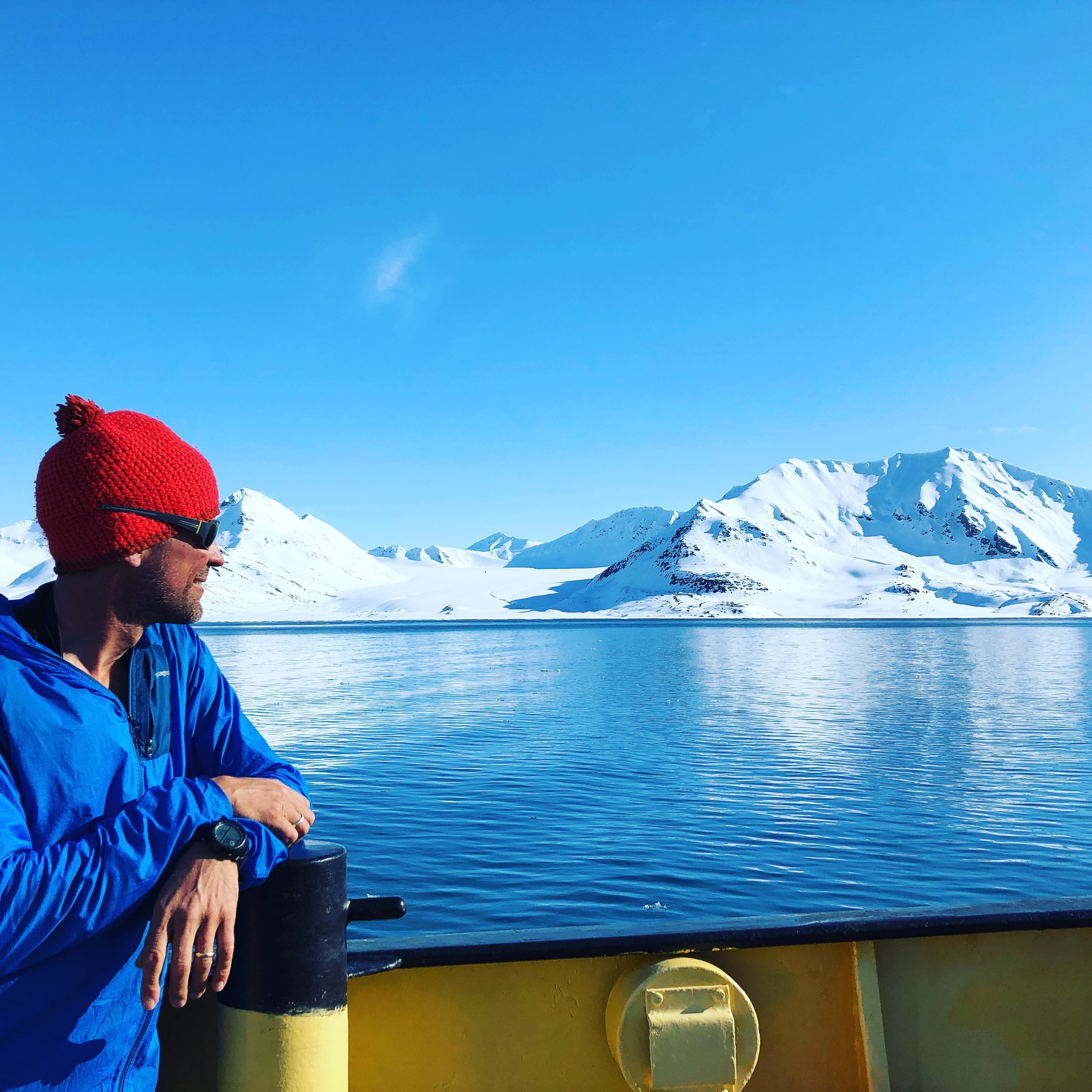 Tom Wolfe, ACMG/IFMGA mountain guide, and owner of  Sawback Alpine Guides , aboard the Noorderlicht.