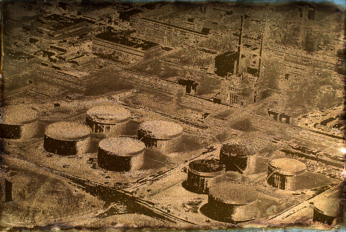 """Syncrude Storage Tanks and Infrastructure.  4""""x6"""" Petrograph on Aluminum. V.1, 2014."""