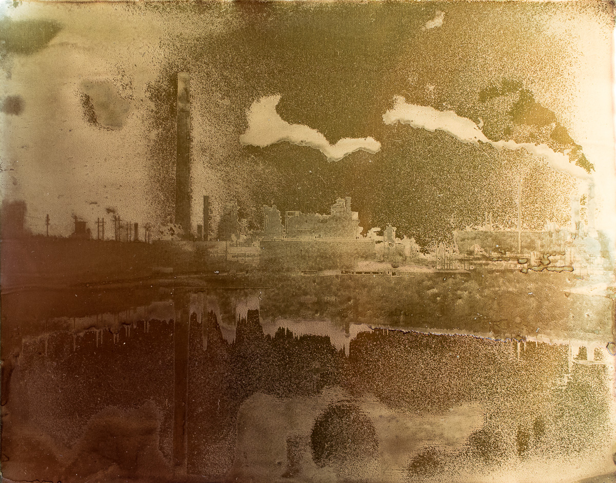 """Syncrude Plant and Tailings Pond Reflection.  8""""x10"""" petrograph on aluminum. V. 1, 2014."""