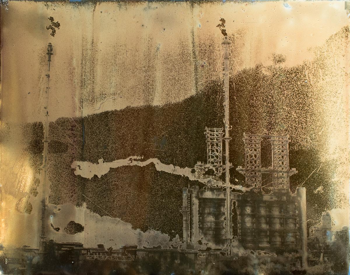 "Suncor Stacks, Flares and Smoke.  8""x10"" Petrograph on Aluminum. V.1, 2014."