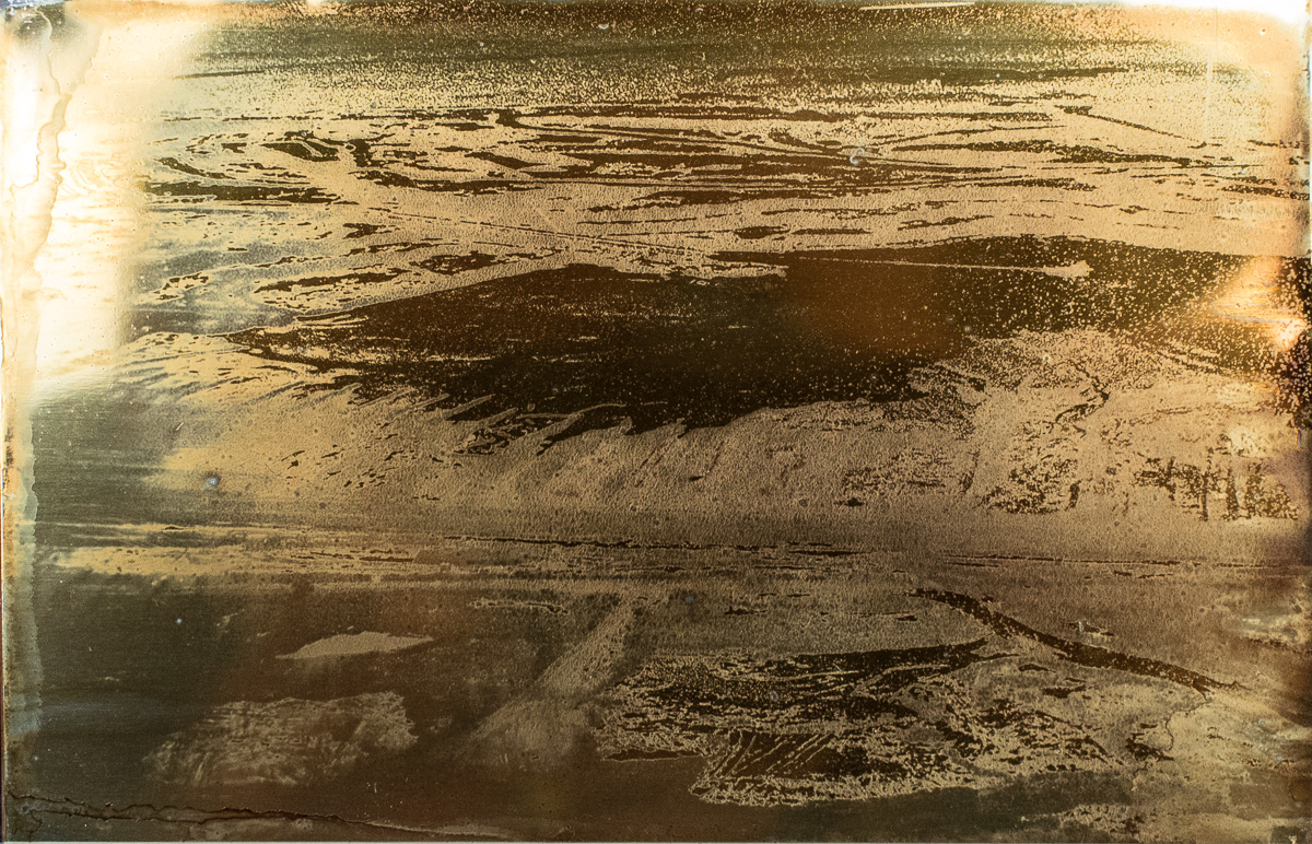 """Taillings Pond with Strip Mines in Distance  .  4""""x6"""" Petrograph on Aluminum. V. 1., 2014."""