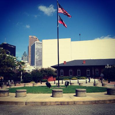 Walk across the plaza!