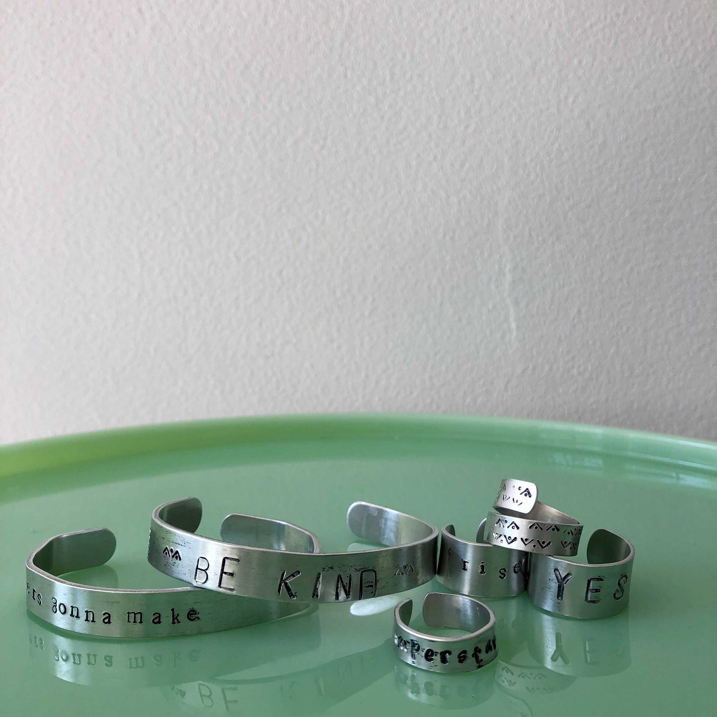 Stamped Metal Jewelry  - make personalized metal jewelry. Your choice of 3 items. Choose from bracelets, rings or charms.