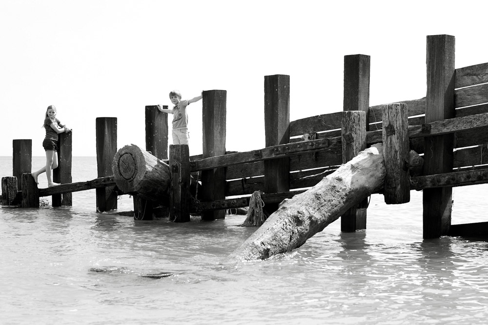 Brother and sister on groyne