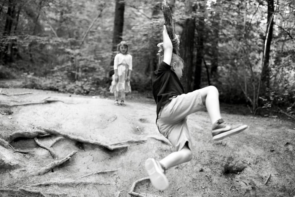 Rope swing boy