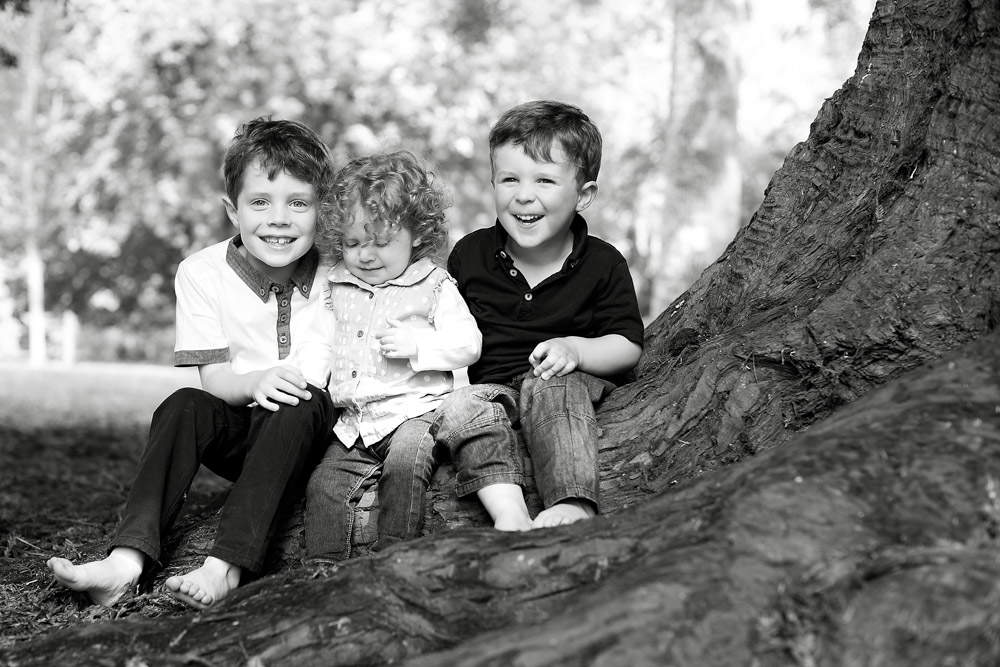 Children posed on a tree