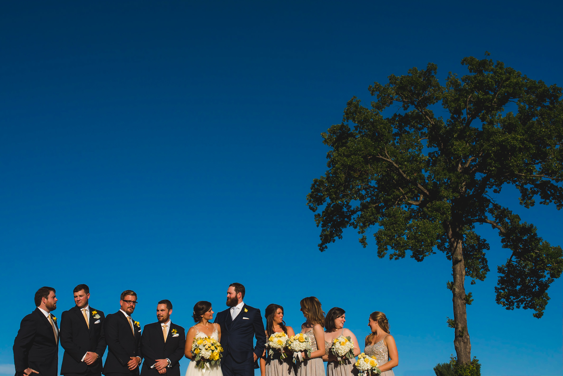 Creative bridal party portrait at Manor Country Club
