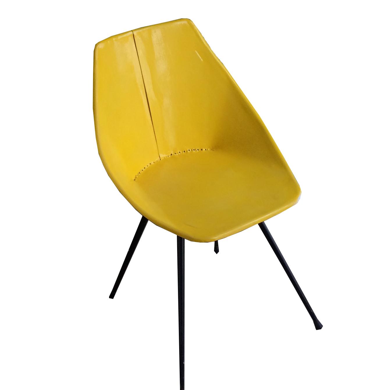 Metall Stuhl gelb -