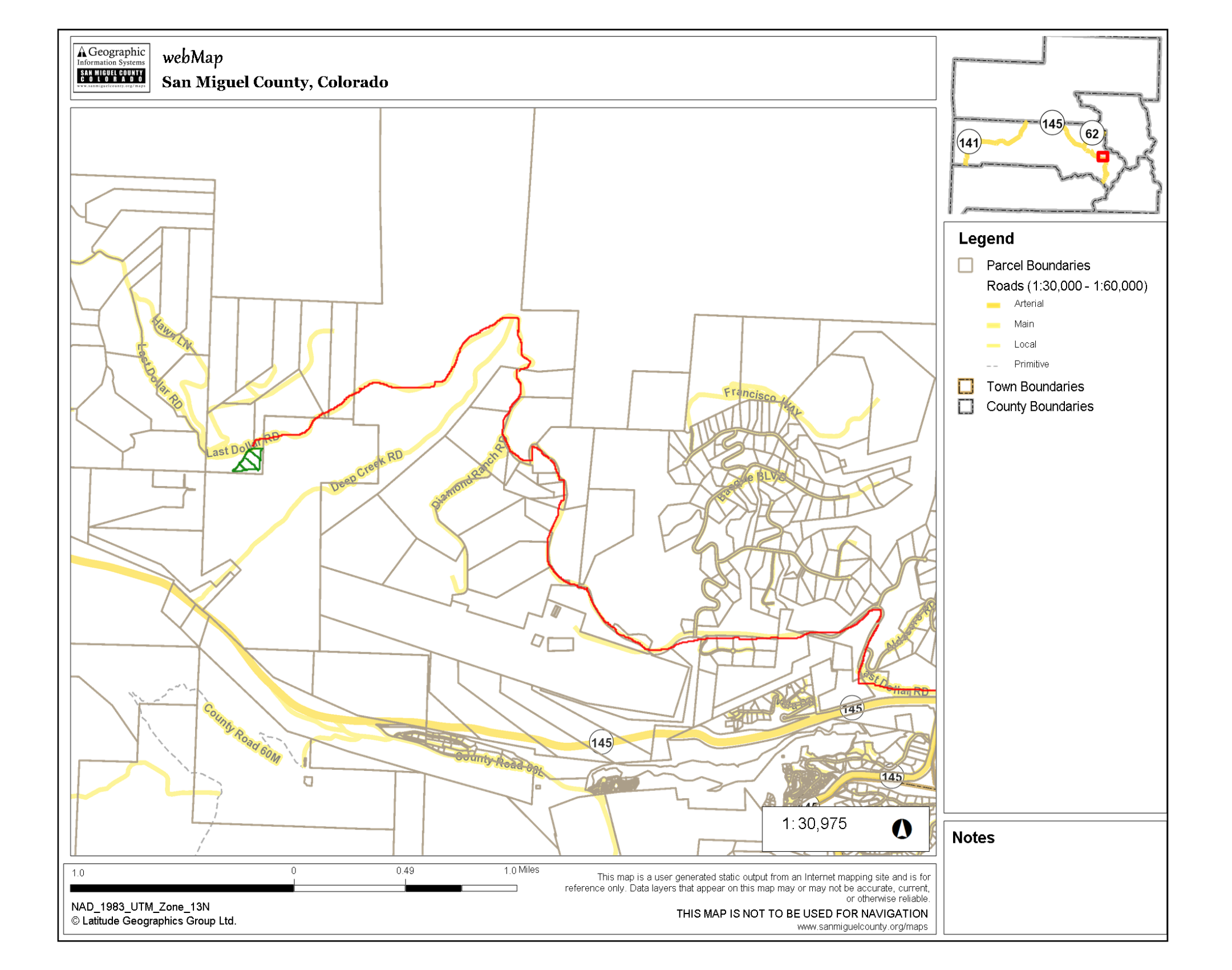 Map to wedding site. Road in red, site in green. Map begins at the airport turn off of highway 145 west of Telluride CO.