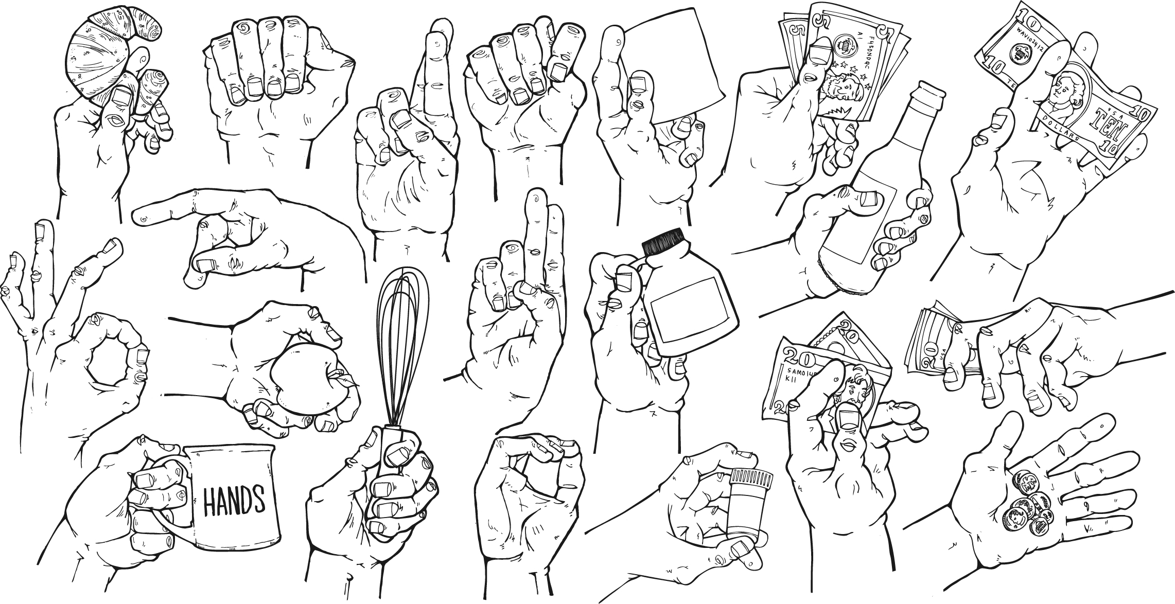 an assortment of hands for various projects
