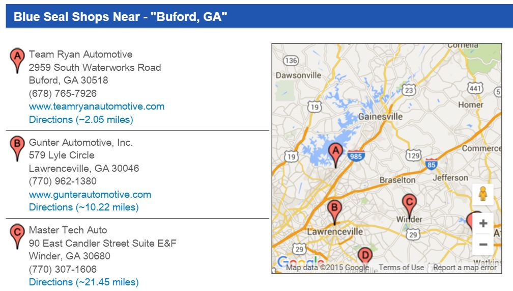ASE Blue Seal Shops near Buford GA