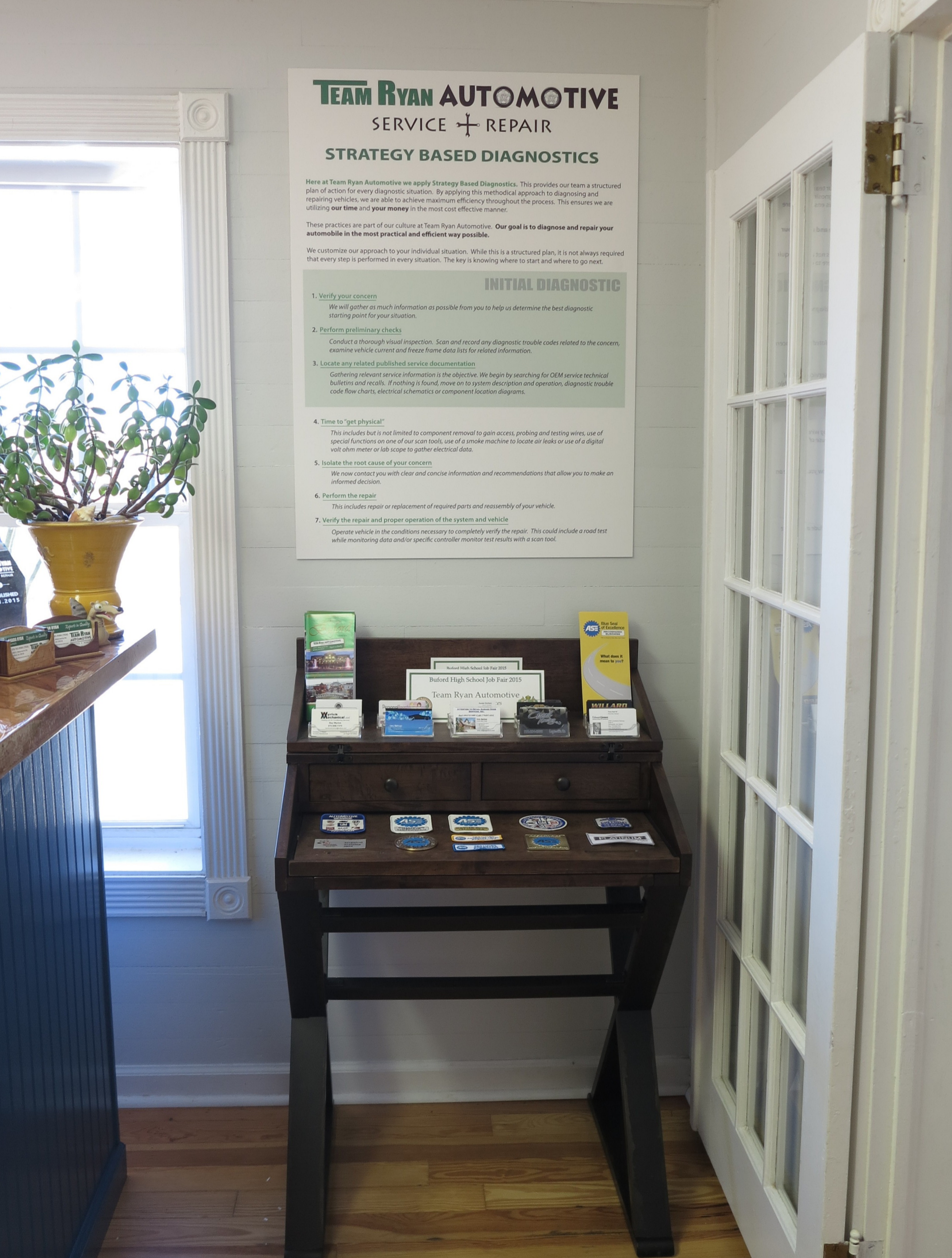 Our Strategy Based Diagnostics process is so important to us we have it posted in the reception area.