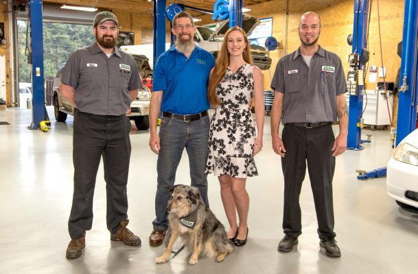 The team at Team Ryan (L to R): Kellen Walling, Dan and Shar Ryan, Travis Tillman and Sophia the shop dog.