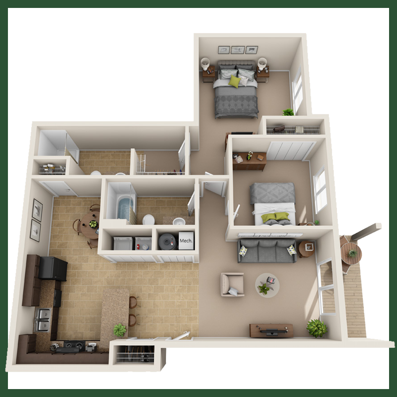 Two Bedroom, Two Bathroom without Bonus Room