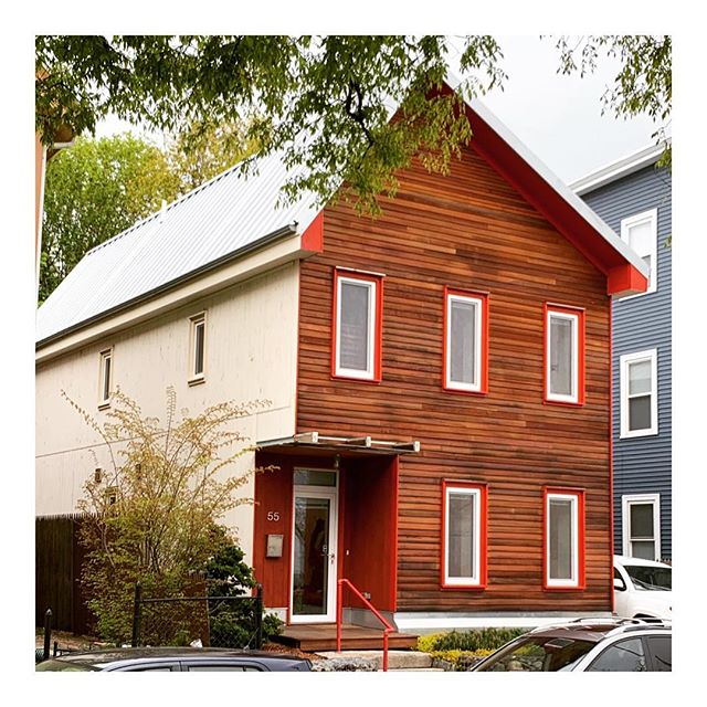 Stopped by our 2013 Rocksberry House today. Still love the red trim with the cedar siding, makes for a nice punch of warmth amongst the typical white trimmed houses of New England. #architecture #construction #development #passivehouse #coop #placetailor #cedar #color #2030 #carbonchallenge #paintitred #roxbury #keepcraftalive #carpentry