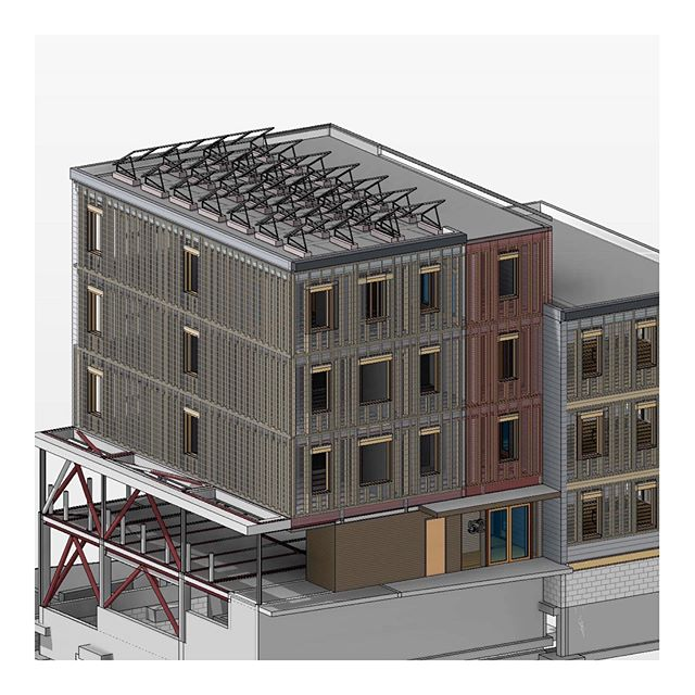 """Sometimes eliminating thermal bridging requires us to fully model a structure. This 6 unit Passivehouse project we are designing is complicated by a parking requirement on a steep site, requiring use of a set of steel platforms. Steel is one the worst materials for thermal transfer, ie heat loss. Consequently we have to work through our connections and sections to eliminate or minimize the bridging from outside to inside through the steel structure. It ends up creating extra steps in the construction, but those are minor relative to the overall energy savings this type of analysis can create. This project is currently modeling around 80% below the energy use of a similar building built to """"code"""". #3dmodeling #structure #architecture #2030 #carbonchallenge #aia #passivehouse #netzero #thermalbridging #energyefficiency #modeling #planning #construction #development #placetailor"""
