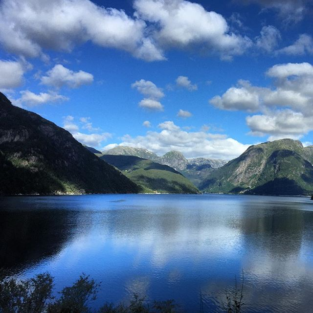 Taken from the bus window. This is the  Sørfjorden , a branch of the Hardanger Fjord.