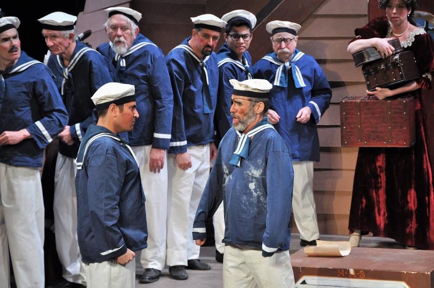 Alan Briones as Ralph confronted by Bob Scrofani as Dick Deadeye, Brett Kroeger in background