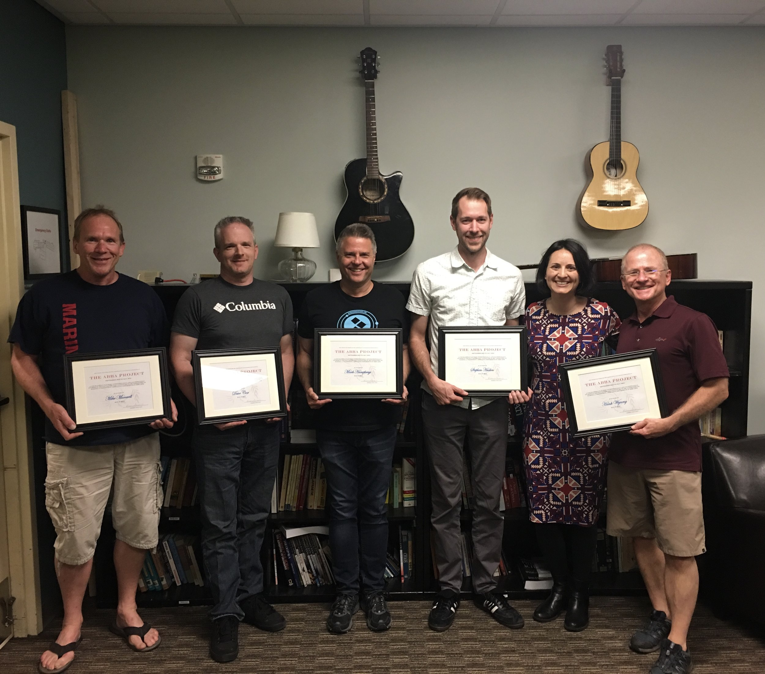 Here are Dr. Kim's first graduates of The Abba Project Bellevue 2018-19 (minus two dads who missed the picture). Great job men!