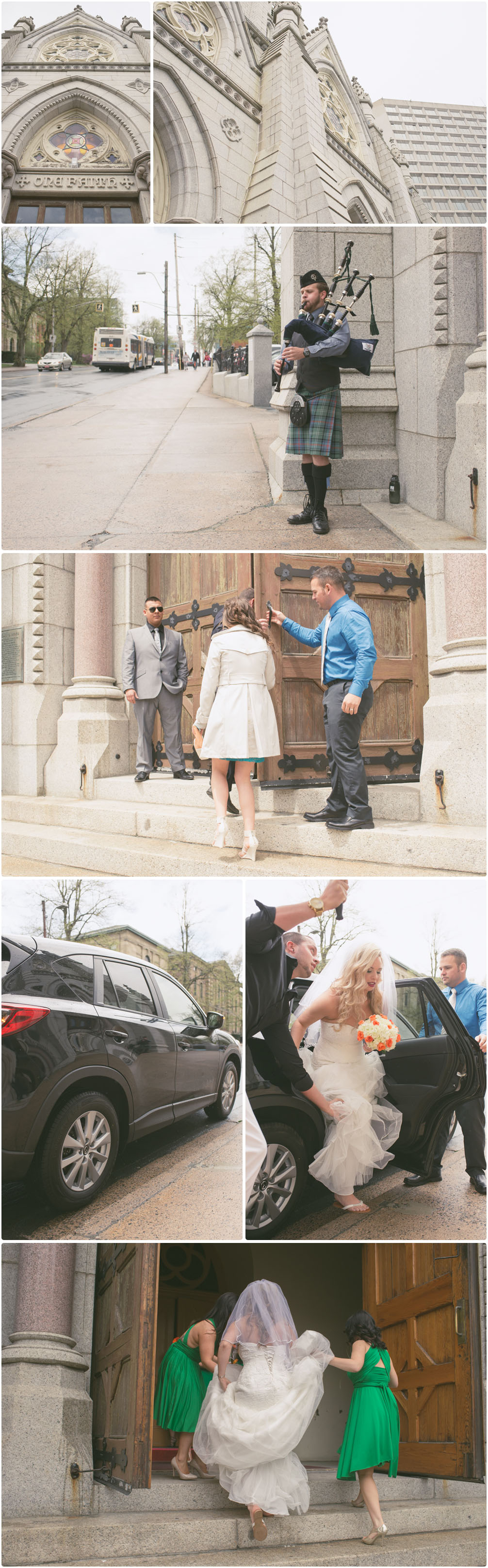 bride arriving at st mary's basilica to be married