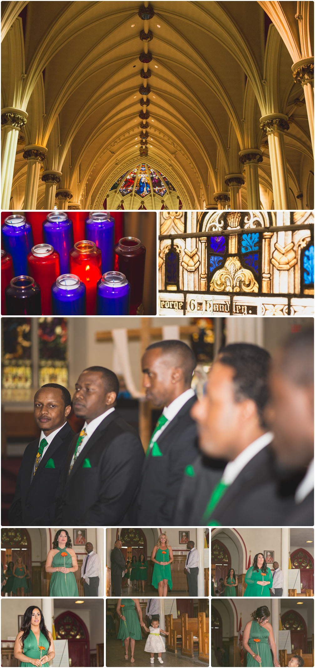 groom and best men waiting for bride in church