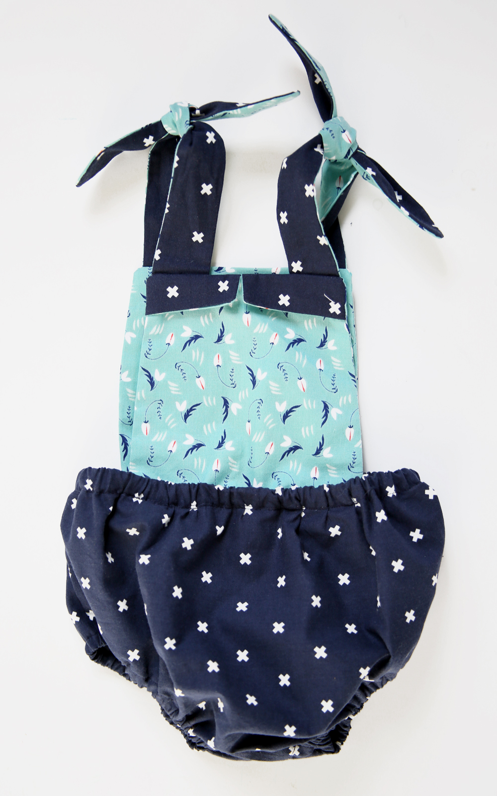 Navy and Aqua Baby Romper by Jessica Quirk