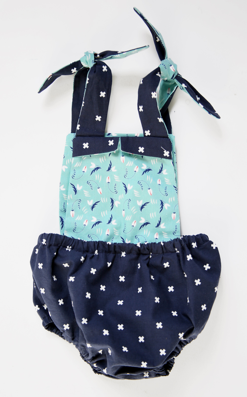 Navy and Aqua Baby Girl Romper by Jessica Quirk