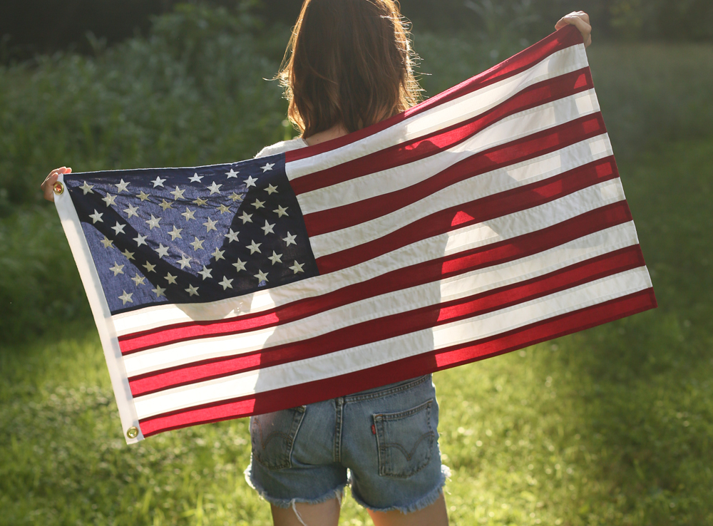 Girl Holding American Flag Jessica Quirks Homemade American Flag