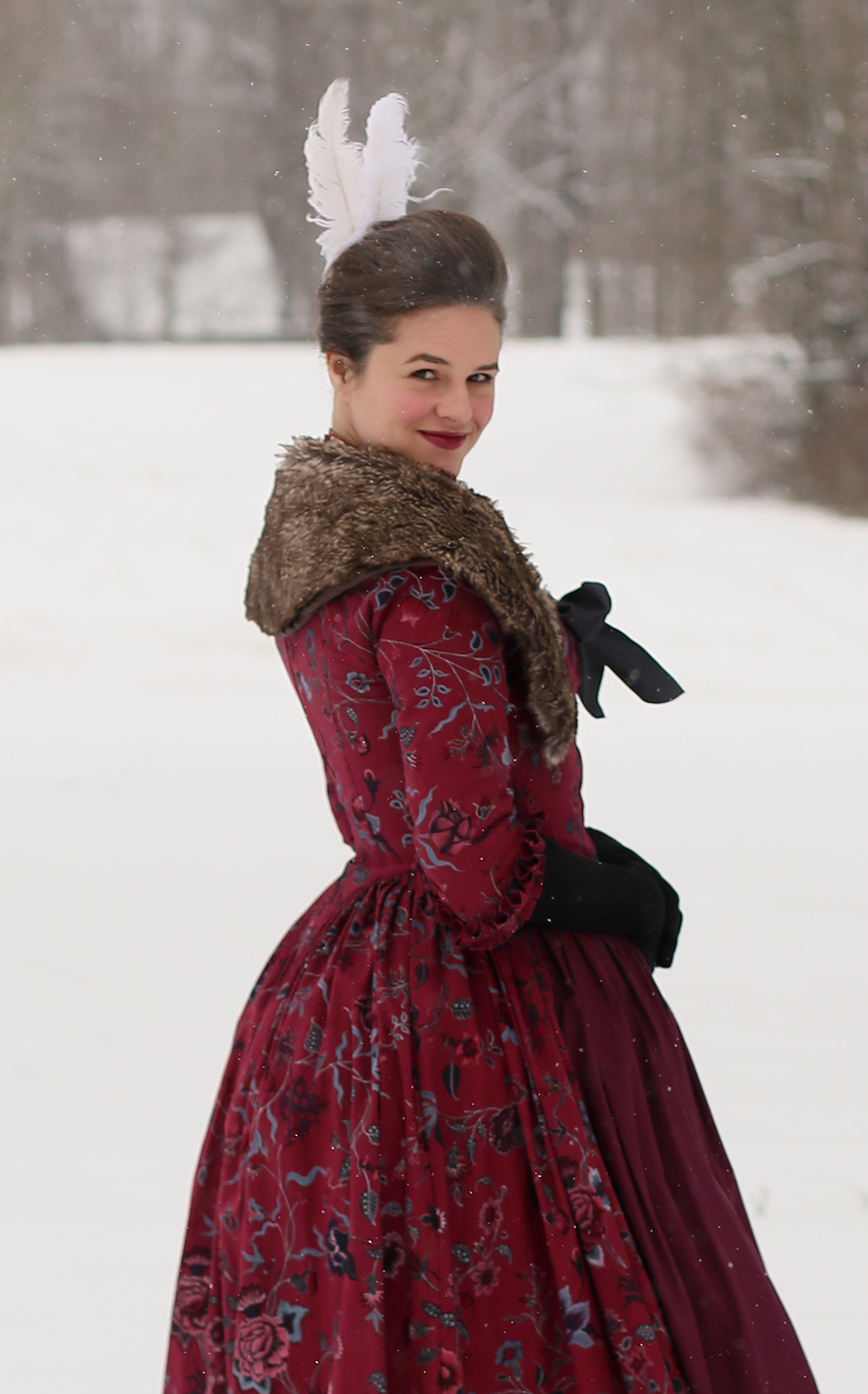 Georgian Red Chintz Gown Snow Day