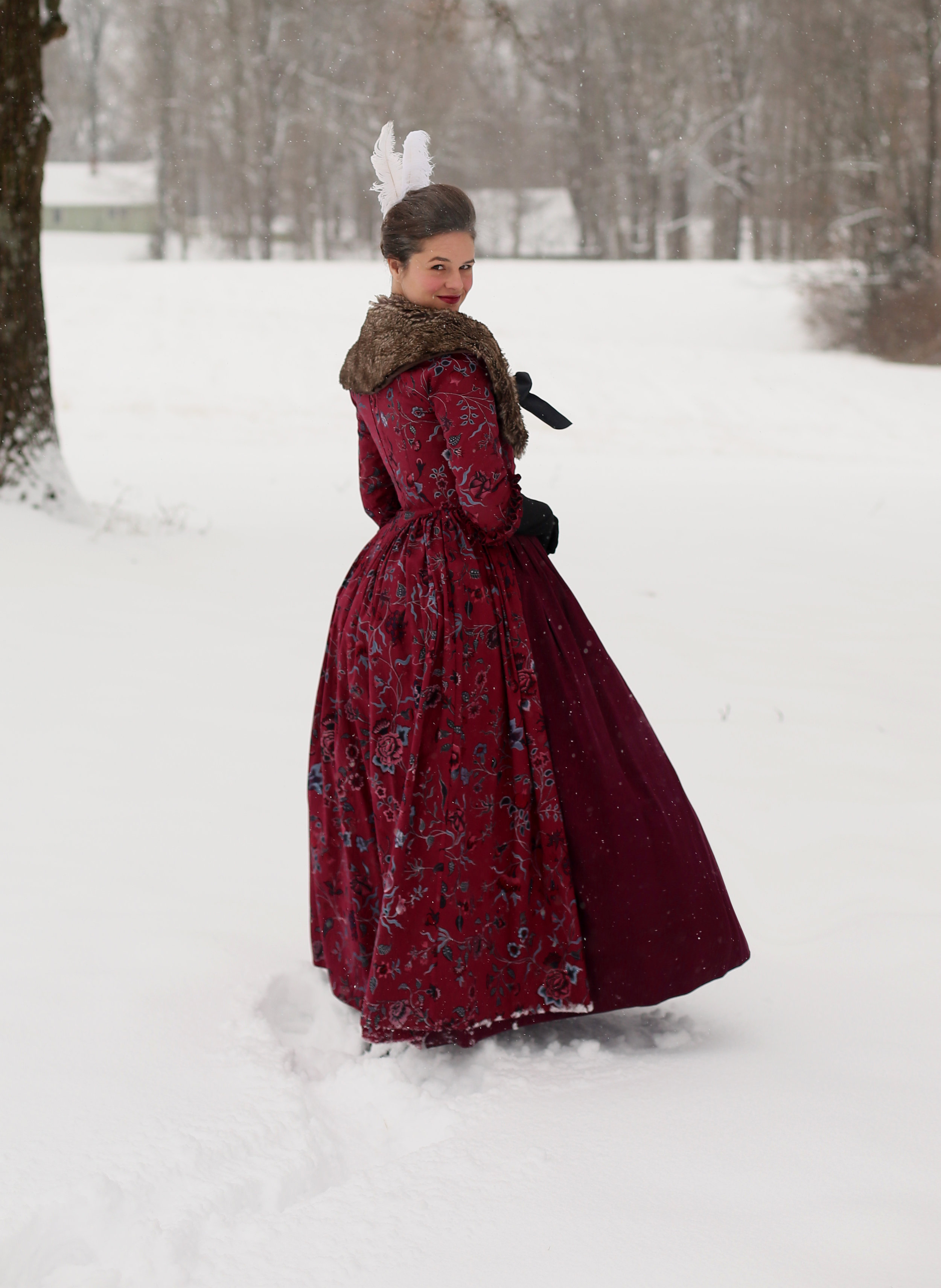 18th Century Snow Day Red Chintz Gown
