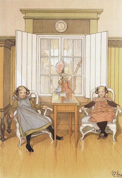 KERSTI'S FRIEND COMES VISITING by CARL LARSSON 1905