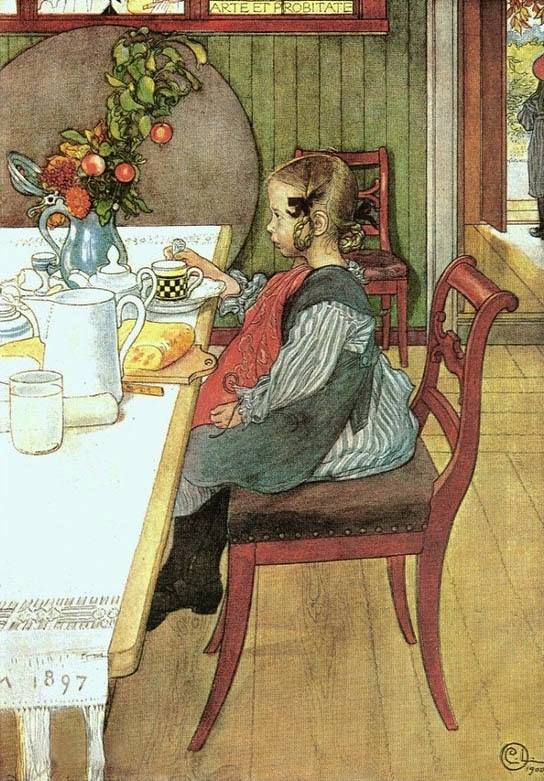 Little Lie-A-Bed's Sad Breakfast by carl larsson 1900