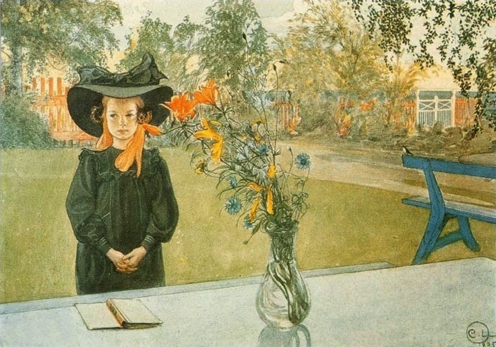 KERSTI in black by carl larsson 1905