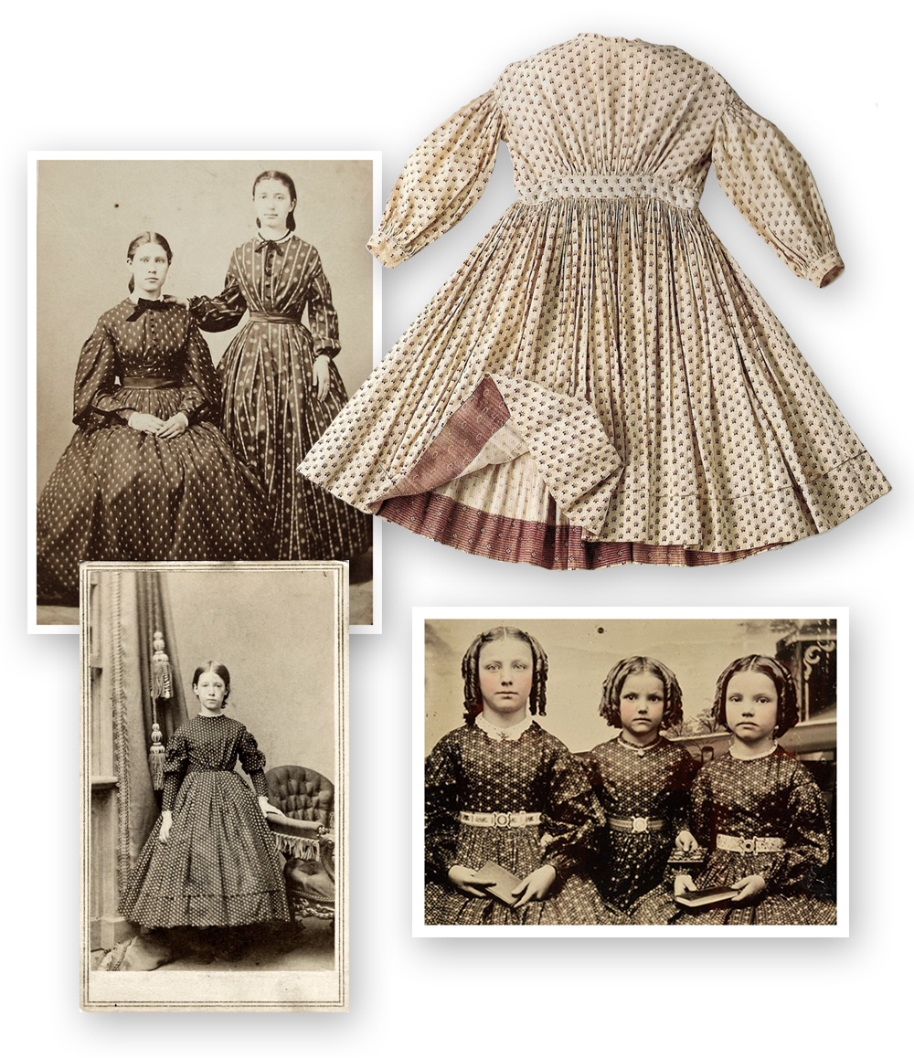 women and girls in printed dresses, radish print child's dress, 1853-1857, wisconsin historical society