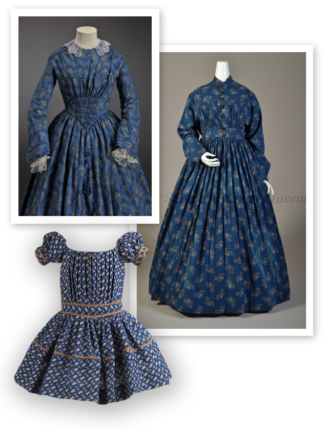 Extant examples of blue print fabric from the mid-19th century (Top LEFT 1845-1850 MODE MUSEUM HASSELT, TOP RIGHT 1867-1869, KENT STATE UNIVERSITY, CHILD's Dress 1850-1855, Metropolitan museum of art)