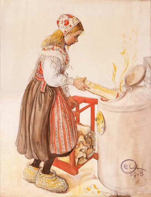 Lilliana feeds the fire, carl larsson 1918