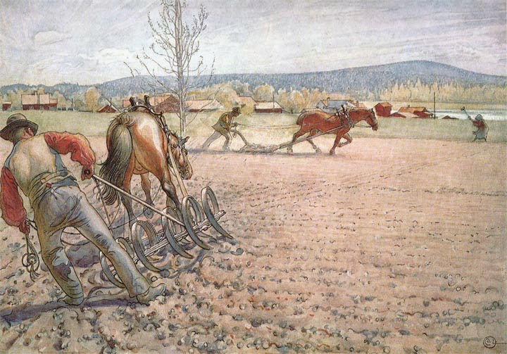Harrowing the Field, Carl Larsson