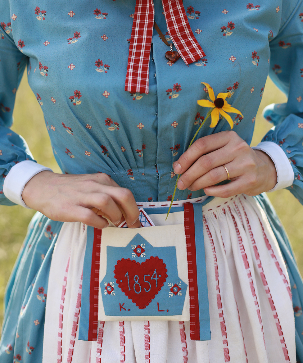 Kirsten's Pocket with Hand Embroidery, Hankie, Amber Heart Necklace