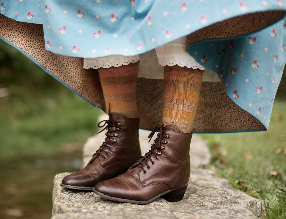 Faced Hem, Custom fabric design, 1850s socks and boots, Victorian Lace Up Boots