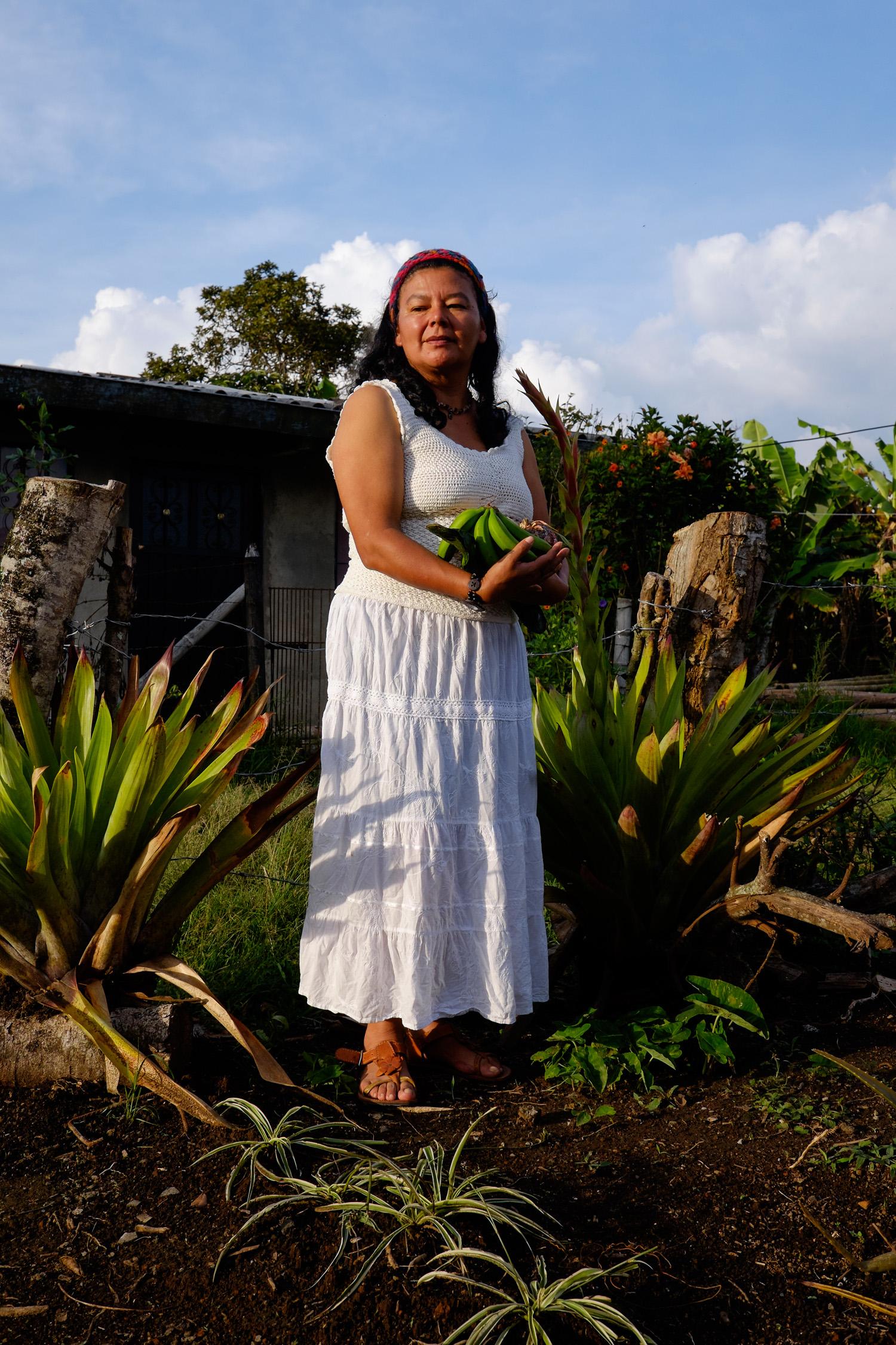 Blanca in her garden in Jumilito