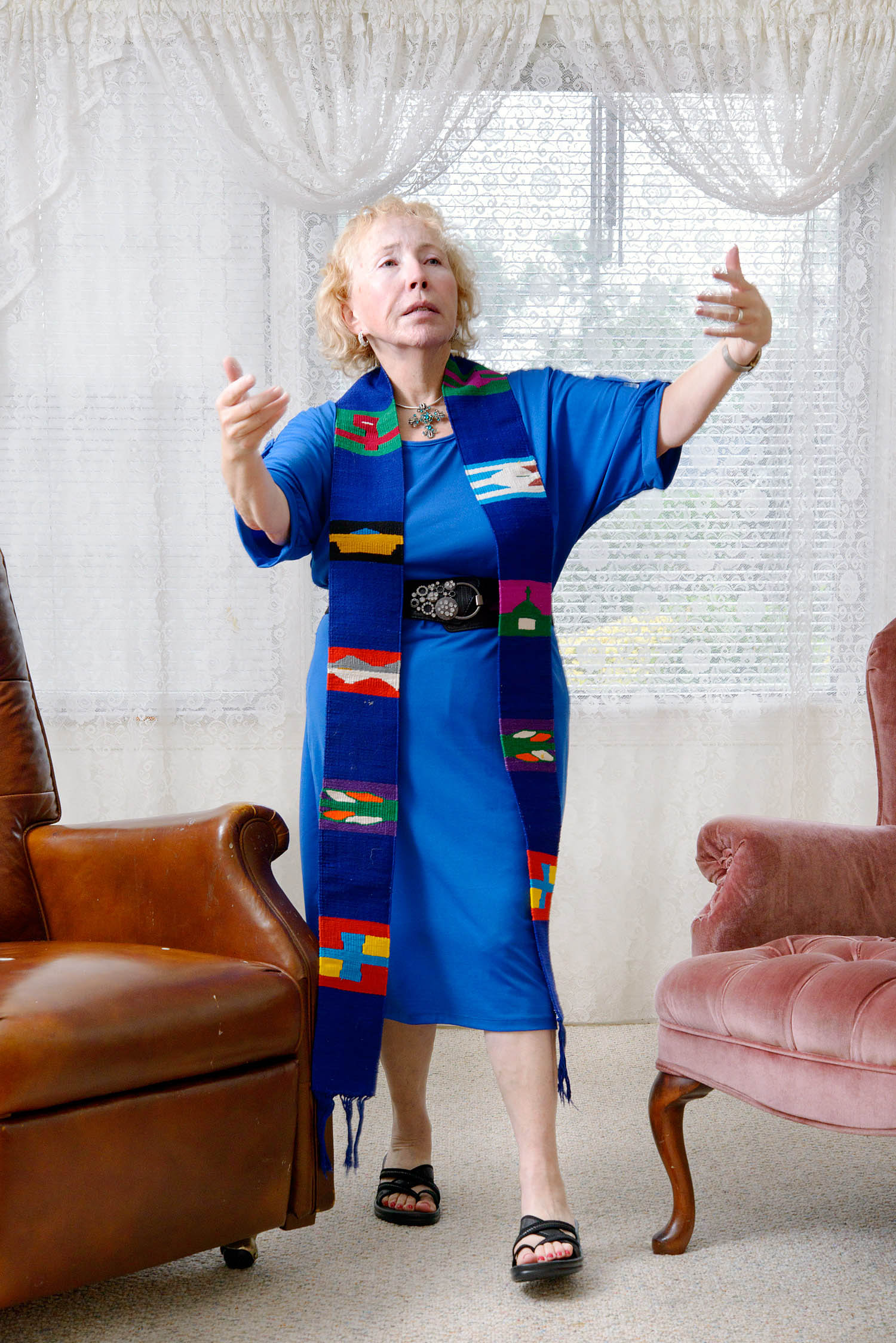 Bishop Bridget Mary Meehan in her living room, Washington D.C. before the beginning or ARCWP annual reunion