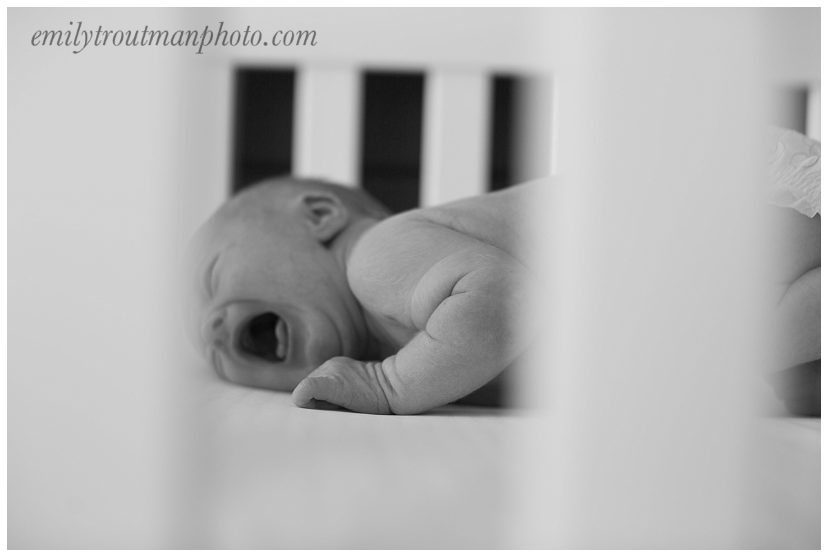 He was NOT a fan of his crib you can see...